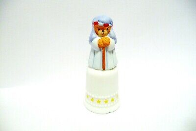 Thimble Bisque Enesco Lucy Rigg  Topper Of Joseph Bear