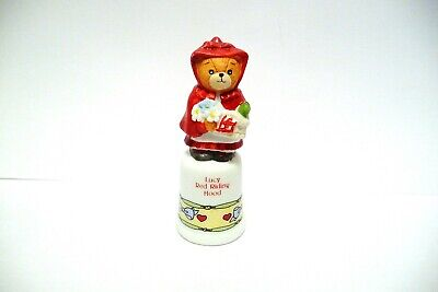 "Thimble Bisque Enesco Lucy Rigg '88 Topper Of ""Lucy Red Riding Hood""  Bear"