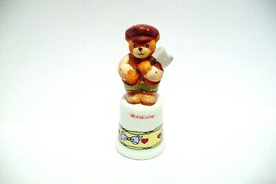 "Thimble Bisque Enesco Lucy Rigg '88 Topper Of The ""Woodcutter"" Bear"