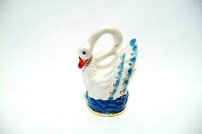Thimble Brass & Handpainted Enamel A Swan On The Water W/Crystals