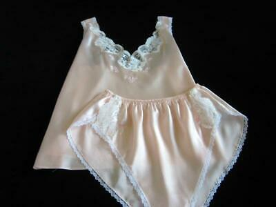 Womens Camisole Panties Set L Short PJs Vintage Barbizon Pink Satin Bias-Cut