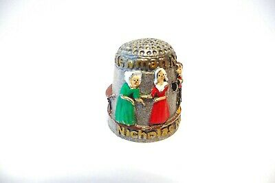 Thimble Pewter Mcmillan & Wife Handpainted Lb Nicholas Nickleby's  Newman Noggs