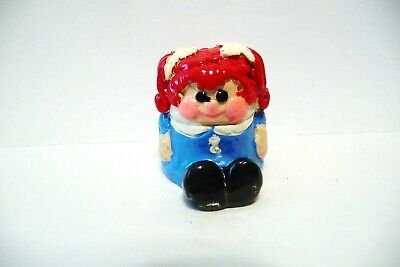 Thimble Vintage Handpainted Polymer Clay C&S '83 Red-Headed Doll W/Rosy Cheeks