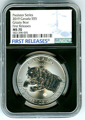 2019 $5 Canada 1 Oz Silver Grizzly Bear Ngc Ms70 Rare First Releases