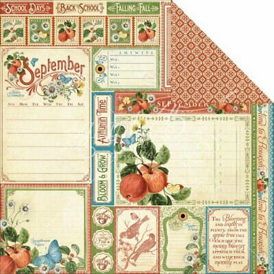 Graphic 45 - Time to Flourish: 12 x12 D/S Paper - September Cut Apart: 18 Sheets