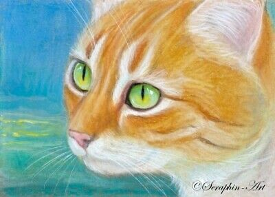 Ginger Cat Original ACEO Pencil Drawing Kitten Miniature Painting Seraphin-Art