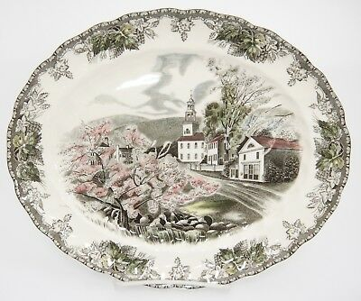 "Johnson Bros Friendly Village 12"" Oval Platter The Village Green Made in England"