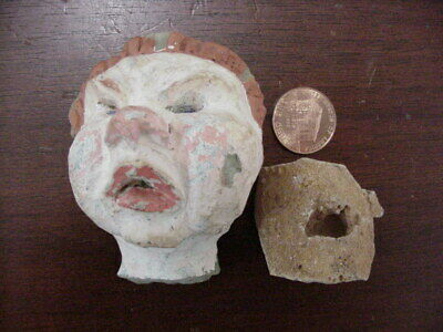 Ancient Aztec ? Pre ? Mexican ? Columbia, Myan Pottery Head Figure, Americas