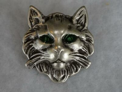 """Rare Out Of Production Metal Cat Lion Buttons With Green Eyes 7/8"""""""