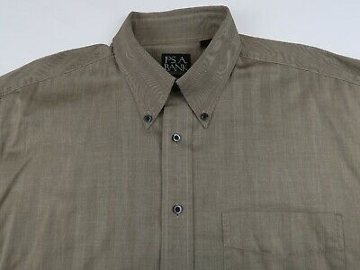 Jos A Bank Mens Cotton Traveler LS Button Down Taupe Beige Dress Shirt Large