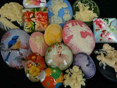 LARGE LOT CAMEO BUTTONS Glass Bubble Fairies Flowers Angels Ladies ++