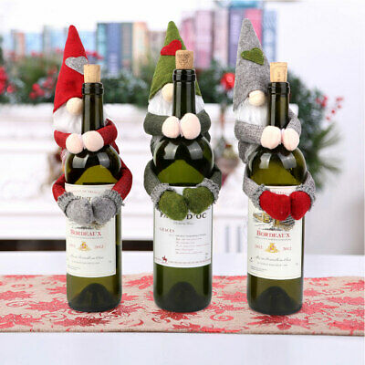 Merry Christmas Red Wine Bottle Cover Bags Santa Xmas Party Dinner Table Decor