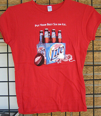 (L) Ladies Miller Lite Beer T Shirt DETROIT RED WINGS Hockey NHL Bar Waitress LG