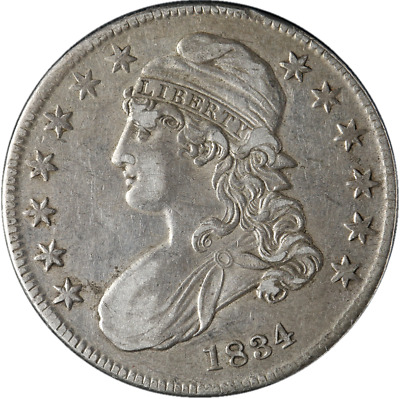 1834 Bust Half Dollar Small Date Small Letters Choice XF 0-116 R.1 Nice Strike