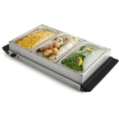 3 Station Buffet Electric Food Warmer Stainless Steel Warming Plate Server Tray