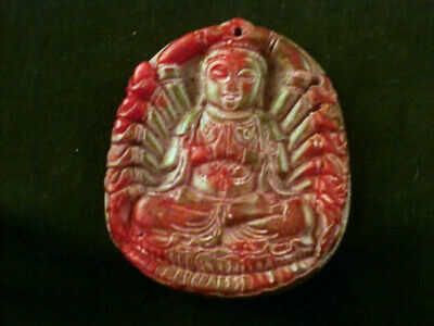 Exquisite Chinese Old Jade Hand Carved *KwanYin* Prayer Pendant G157