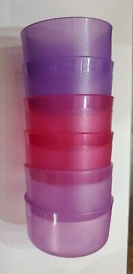 Tupperware set 6 Mini Bowl Smidgets Pill Box Container Sheer Purple sheer pink