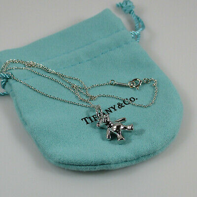 """Authentic Tiffany & Co. Teddy Bear Charm and Chain, Sterling Silver, 16"""" Chain"""