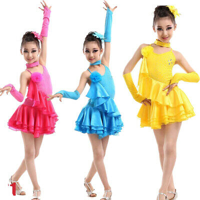 Girls Latin Salsa Dancing Dress Kids Party Ballroom Competition Dance Costumes