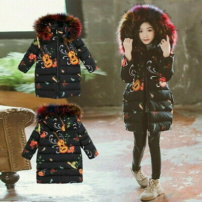Girls Kids Baby Warm Winter Hooded Coat Fur Jacket Padded Thick Long Parka Tops