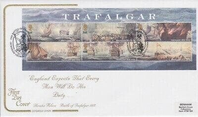 Gb Stamps Mini Sheet First Day Cover 2005 Trafalgar Superb Cotswold Collection