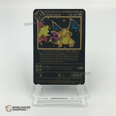 Carte Pokemon Gold Dracaufeu / Charizard Metal Black Card Fan Made / EX GX
