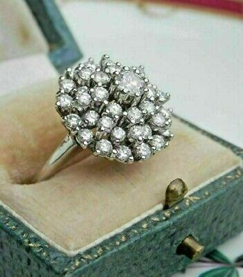 2.00 Ct Round Diamond Vintage Cocktail Cluster Ring Solid 14K White Gold Finish