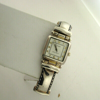 Ecclissi Sterling Silver Case 22695 Leather Band Quartz Analog Ladies Watch