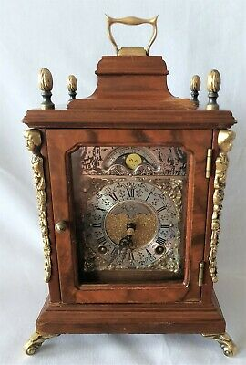 Warmink Mantel Clock Dutch Vintage 8 Day Key Wind Double Bell, Rolling Moon Dial