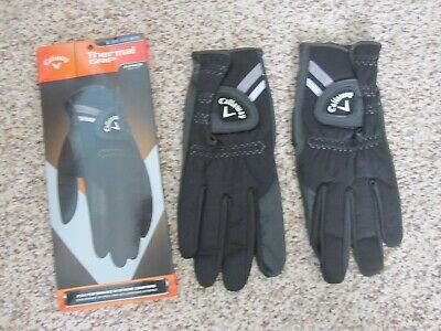 2 Callaway Thermal Grip Golf Gloves Size Large New Mens Black