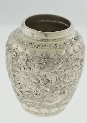 """Antique Persian Sterling Silver Floral Repousse Hand Chased Miniature Urn 2.6"""""""