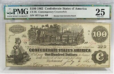 1862 $100 Confederate Civil War PMG CT-39 Certified Counterfeit Bank Note PC-357