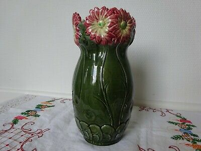 "Large Antique French Barbotine Majolica Vase ""Art Nouveau"" 1900/1910"