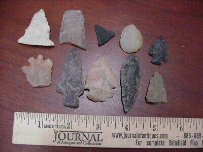 LOT of 10 AMERICAN INDIAN ARROWHEADS, SCIOTO COUNTY OHIO, FROM THE FIELDS
