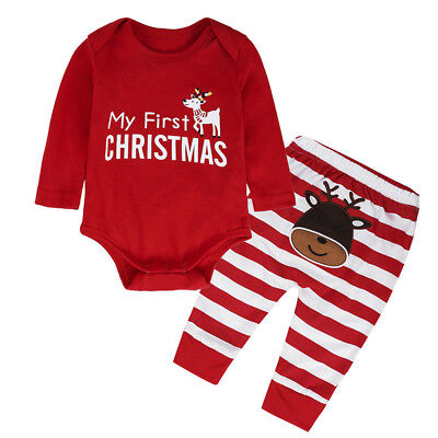 Kids Boy Girl Christmas Santa Clothes Tops Romper Pants Birthday Xmas Party Sets