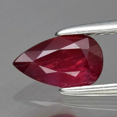 0.72ct 7.3x4.4mm Pear Natural Unheated Untreated Red Ruby, Tanzania