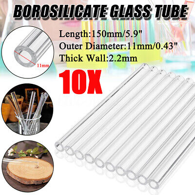 10X 150mm OD 11mm 2.2mm Thick Wall Borosilicate Glass Tubing Blowing Tube Set