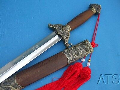 Chinese Hand Forged Rosewood Tai Chi Sword Spring Steel Flexible Blade + Tassel