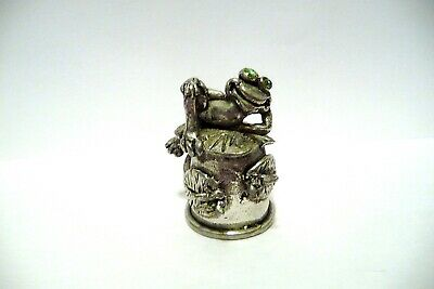 Thimble Pewter Comstock Topper Of A Lounging Frog On Lily Pad W/Green Crystals