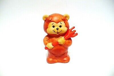 Thimble Bisque Enesco Figural Of A Bear Dressed As A Devil W/His Fork