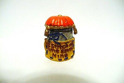"""Thimble Pewter Mcmillan & Wife Handpainted """"A Stitch In Time Saves Nine"""" * Opens"""