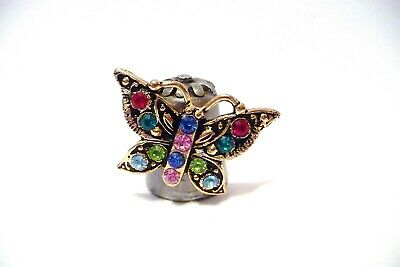 Thimble Pewter Nicholas Gish & Signed Gold-Plated Butterfly W/Crystals