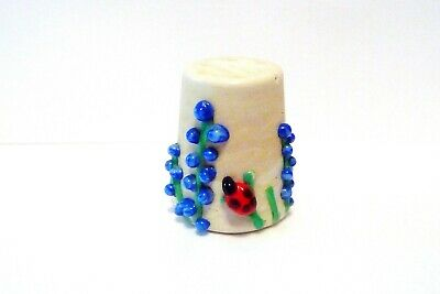 Thimble Handcrafted Lampworks Glass Krm Ladybugs W/Blue Flowers