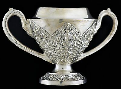 Antique Anglo Burma Burmese Sterling Silver Repousse Buddha Offering Sugar Bowl