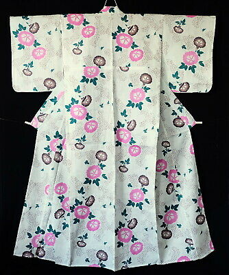 Japanese Yukata Kimono Robe Cotton Linen Mix Morning Glory T190