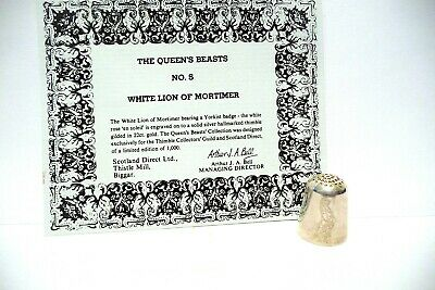 "Thimble Guild '86 Sterling Silver ""The Queen's Beasts"" White Lion Of Mortimer"