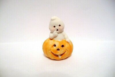 Thimble Handpainted Bisque Joel Adorable Ghost Popping Out Of A Jack-O-Lantern