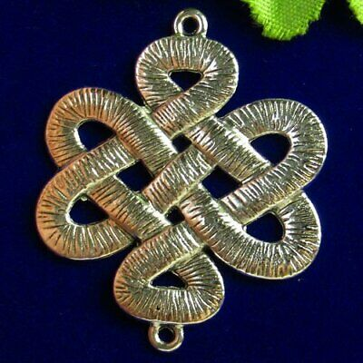 N34457 Carved Tibet Silver Chinese Knot Pendant Bead 45x38x3mm