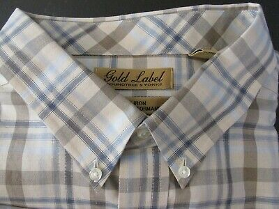 Roundtree /& Yorke Gold Label Non Iron Perfect Performance SS Plaid Shirt NWT $69