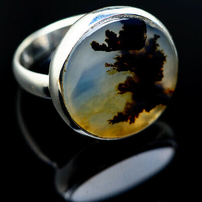 Scenic Dendritic Agate 925 Sterling Silver Ring Size 8.25 Jewelry R974559